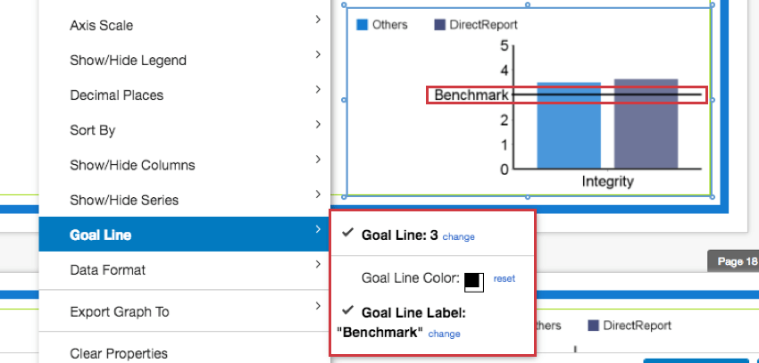 Goal Line options in the Graph Options dropdown menu
