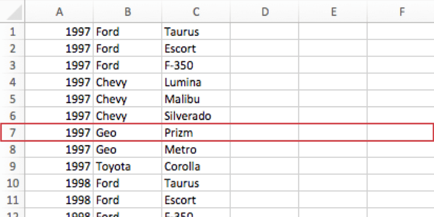 A row of the CSV is highlighted