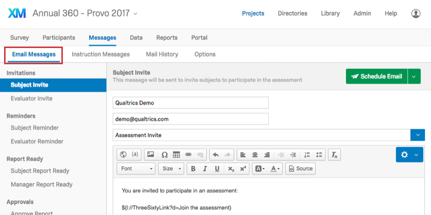 Email Messages (360) - Qualtrics Support