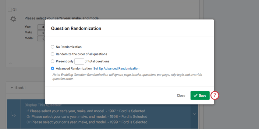 Save in lower-right of Question Randomization window