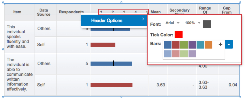 Available header options on the table