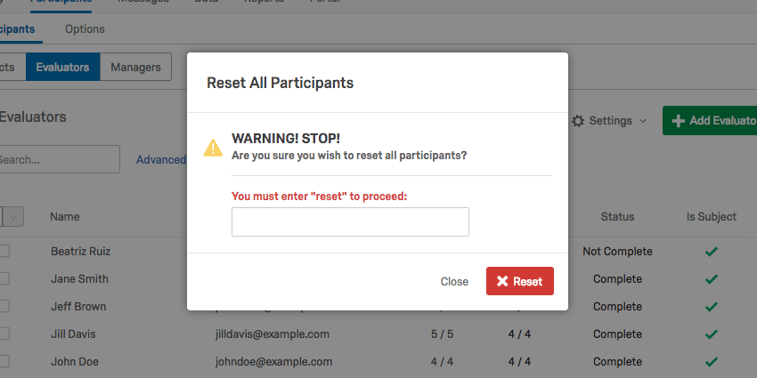 Reset All Participants pop up window