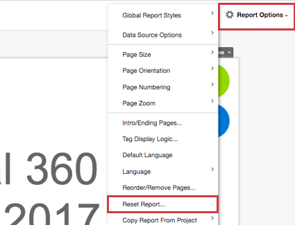 Resetting your report from the Report Options dropdown