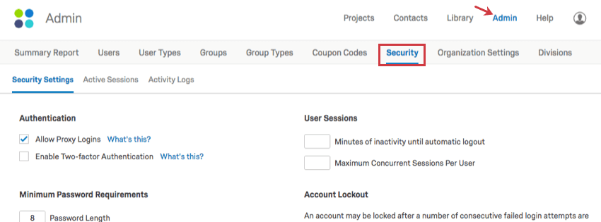 Admin basic overview qualtrics support security tab on the upper right admin page fandeluxe Image collections