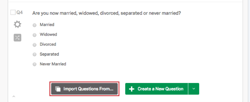 Import Questions From button beneath a survey question