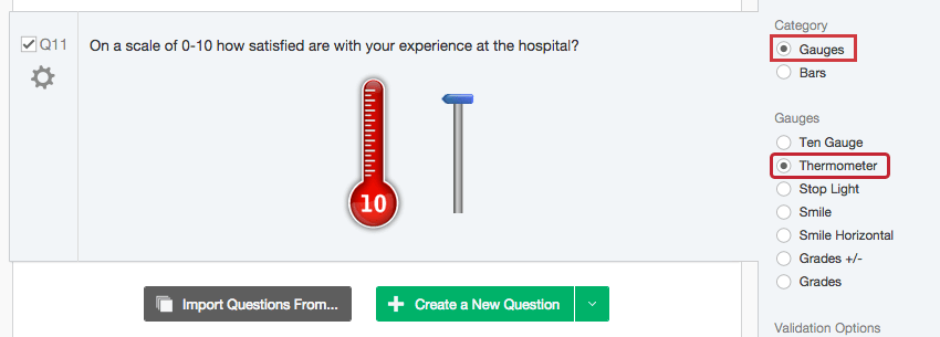 A thermometer graphic slider