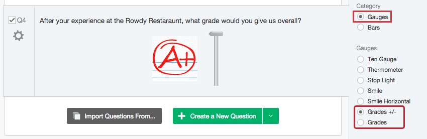 A graphic slider where the graphic is a grade that looks like it's been written on lined paper