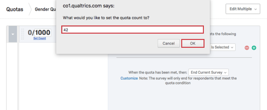 Dialog box where you can enter a new count for the quota