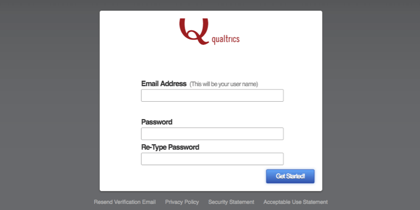 Text boxes to enter email address and password