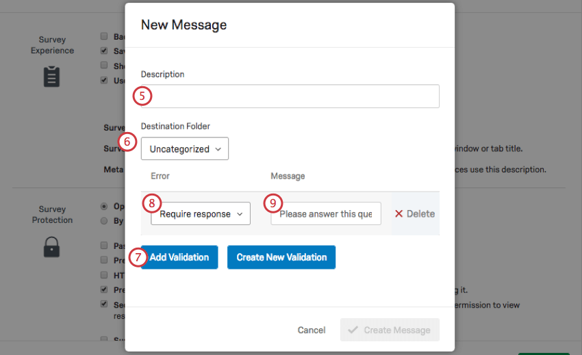 New Message window. Error field is set to Require Response.