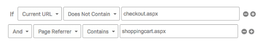 If current URL does not contain checkout, and page referrer contains shopping cart