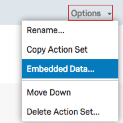 Dropdown menu with Embedded Data selected