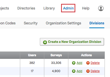 admin tab in upper-right beside the Help button and profile icon