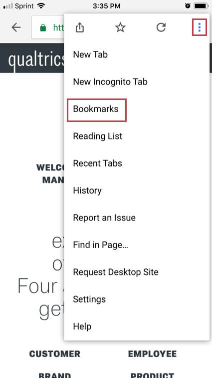 Three parallel dots icon in the address bar reveals a menu with a Bookmarks option
