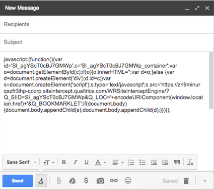 Javascript pasted into an email