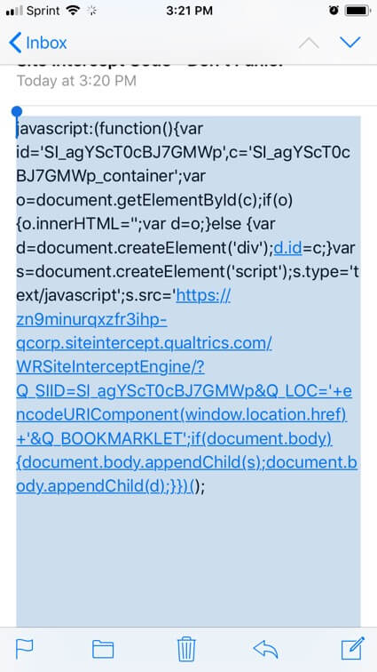 Javascript copied in a mobile email app