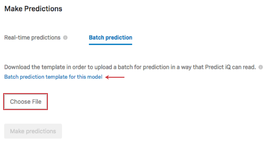 File selection under the batch prediction tab