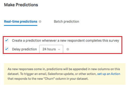 Two settings under the real-time predictions tab