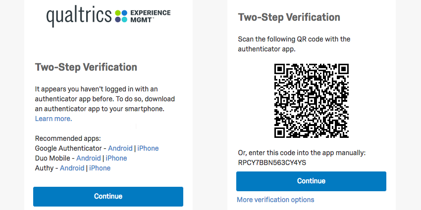 On the left, a list of authenticator apps with links; on the right, a QR code
