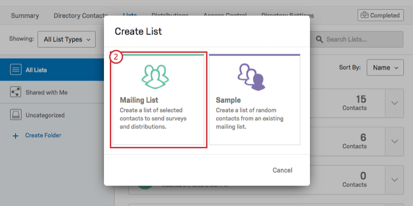 Mailing List option in mint green on left of Create List window