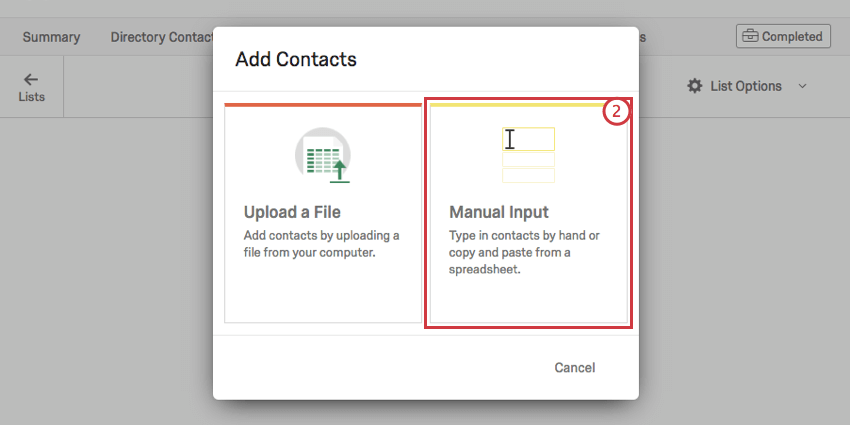 Manual Input option in yellow on the right on the Add contacts window