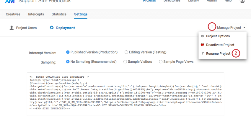 Deployment Section - Qualtrics Support