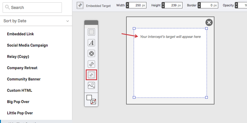 Embedded Target icon on the toolbar, a link in a dotted border; an element that says Your Intercept's target will appear here