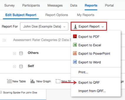 The Export Report dropdown reveals an Export to QRF option