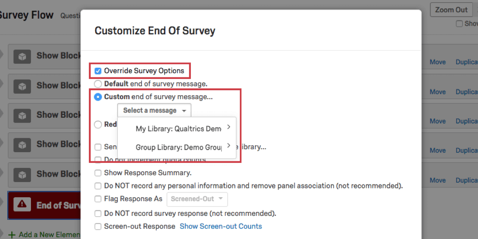 Options for customizing the end of survey message
