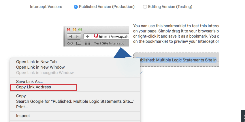 Right-clicking the grey bookmarklet to reveal options including Copy Link Address