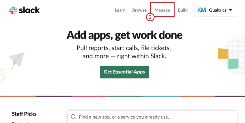 image of the manage button in slack