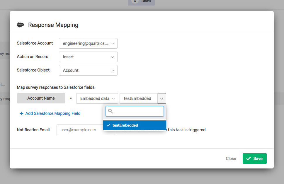 Salesforce integration embedded data
